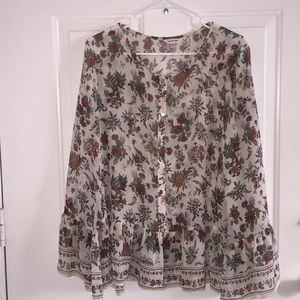 Blouse with floral & leaves (Large)